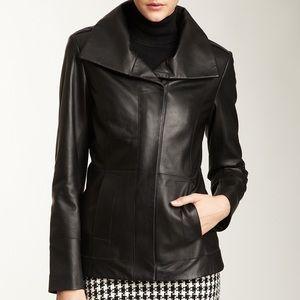 cole haan • 100% lambskin leather zip front jacket